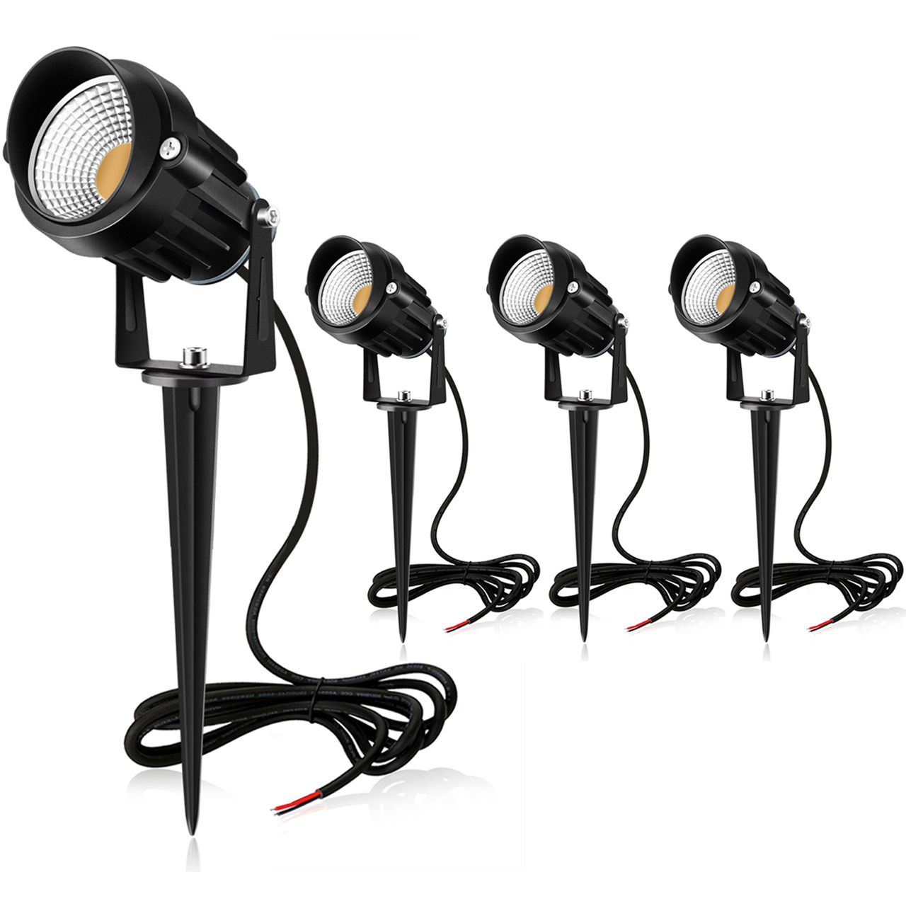 MEIKEE 7W LED Landscape Lights Pathway Lights 12V/24V Spotlights Warm White IP66 Waterproof for Driveway, Yard, Lawn, Patio, Swimming Pool,Outdoor Garden Lights (4 Pack)